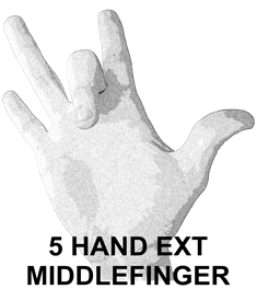 5 Hand Ext Middlefinger